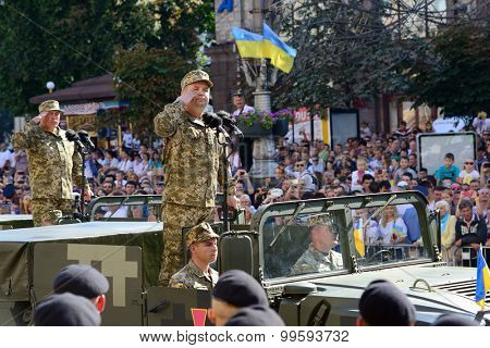 Kiev, Ukraine, Khreshchatyk Street, August 24, 2015. Stepan Poltorak - Minister of the Armed Forces of Ukraine opens the march of Independence Day of Ukraine