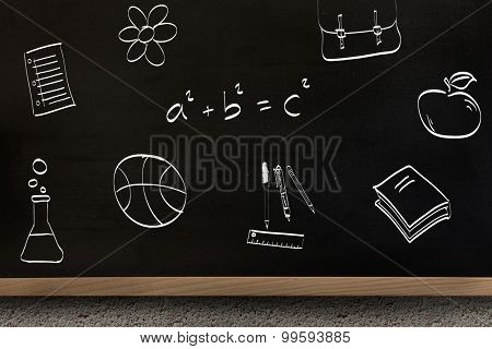 School doodles against blackboard on wall