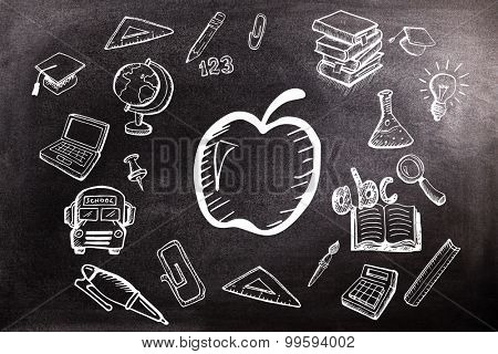 Education doodles against black background