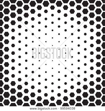 Seamless pattern. Repeating abstract background with hexagons arranged as gradient. Stylish black and white and grid texture.
