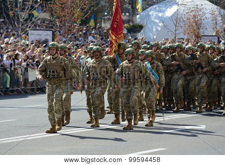 Kiev, Ukraine, Khreshchatyk Street, August 24, 2015. Military march to the Independence Day of Ukraine.