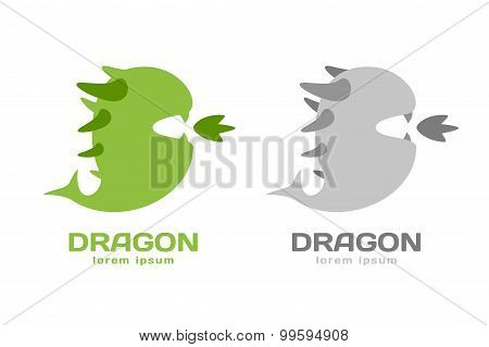 Cute dragon silhouette logo icon