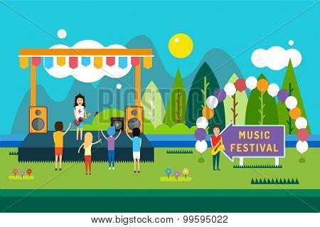 Music festival outdoor illustration. Landscape horizontal