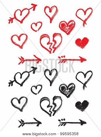 Vector hand drawn lipstick hearts and arrows