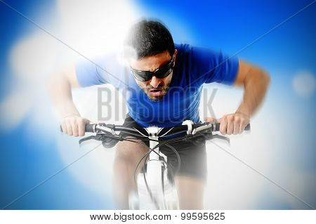 Composite Of Young Aggressive Sport Man Riding Mountain Bike In Frontal View