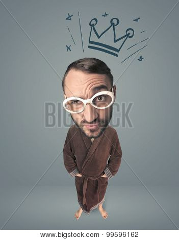 Funny guy with big head and drawn crown over it