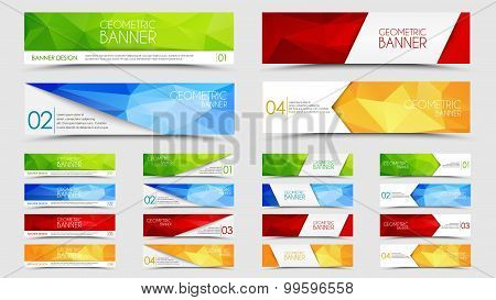 Big Set Of Geometric Polygonal Banners