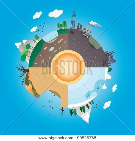 Floating island design. Background for presentations.