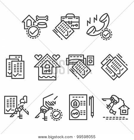 Real estate line vector icons