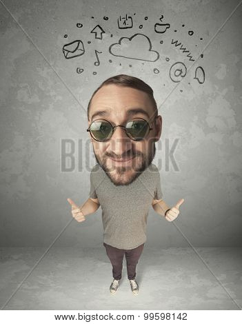 Funny guy with big head and drawn social media marks over it