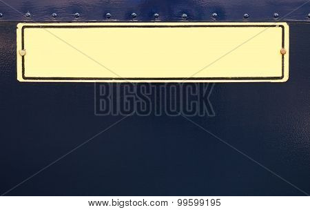 Vintage Nameplate. Dark Blue Paint Texture.