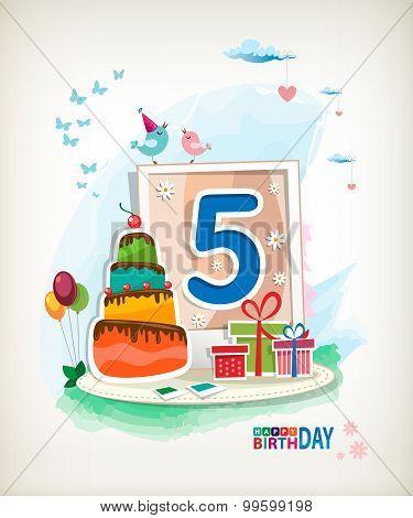 Fifth Birthday Card.
