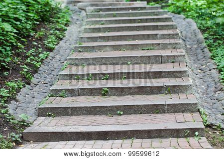 Vintage Gray Stone Stairway In The Park