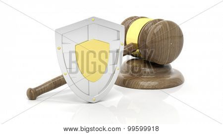 Silver shield and gavel symbols, isolated on white background