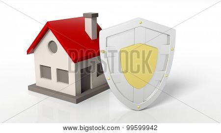 Silver shield and house symbols, isolated on white background