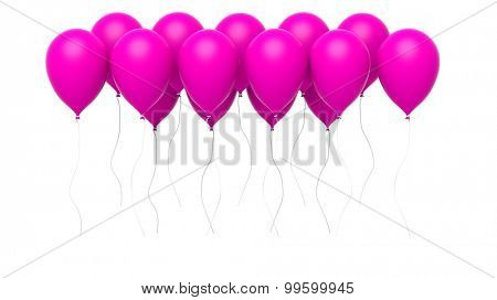 Group of colorful pink blank balloons isolated on white background