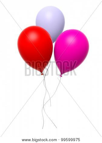 Group of three colorful blank balloons isolated on white background