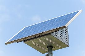 picture of solar battery  - Small solar panel with battery for isolated devices street lamps illuminated signs gate valves for agriculture - JPG