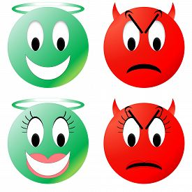 picture of angry smiley  - Green angel and red devil smiley - JPG