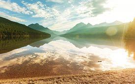 picture of landforms  - Bowman lake in Glacier National Park - JPG