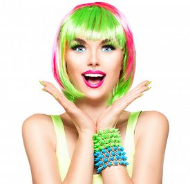 foto of colore  - Surprised Beauty Fashion Model Girl with Colorful Dyed Hair - JPG