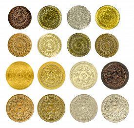 picture of bronze silver gold platinum  - illustration of a fractal set of gold silver bronze coins medals - JPG