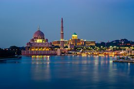 picture of prime-minister  - Reflection of Putra Mosque and Prime Minister Office at dusk in Putrajaya Malaysia - JPG
