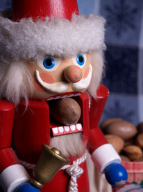 foto of tchaikovsky  - an old german santa claus nutcracker with a pecan in his mouth - JPG