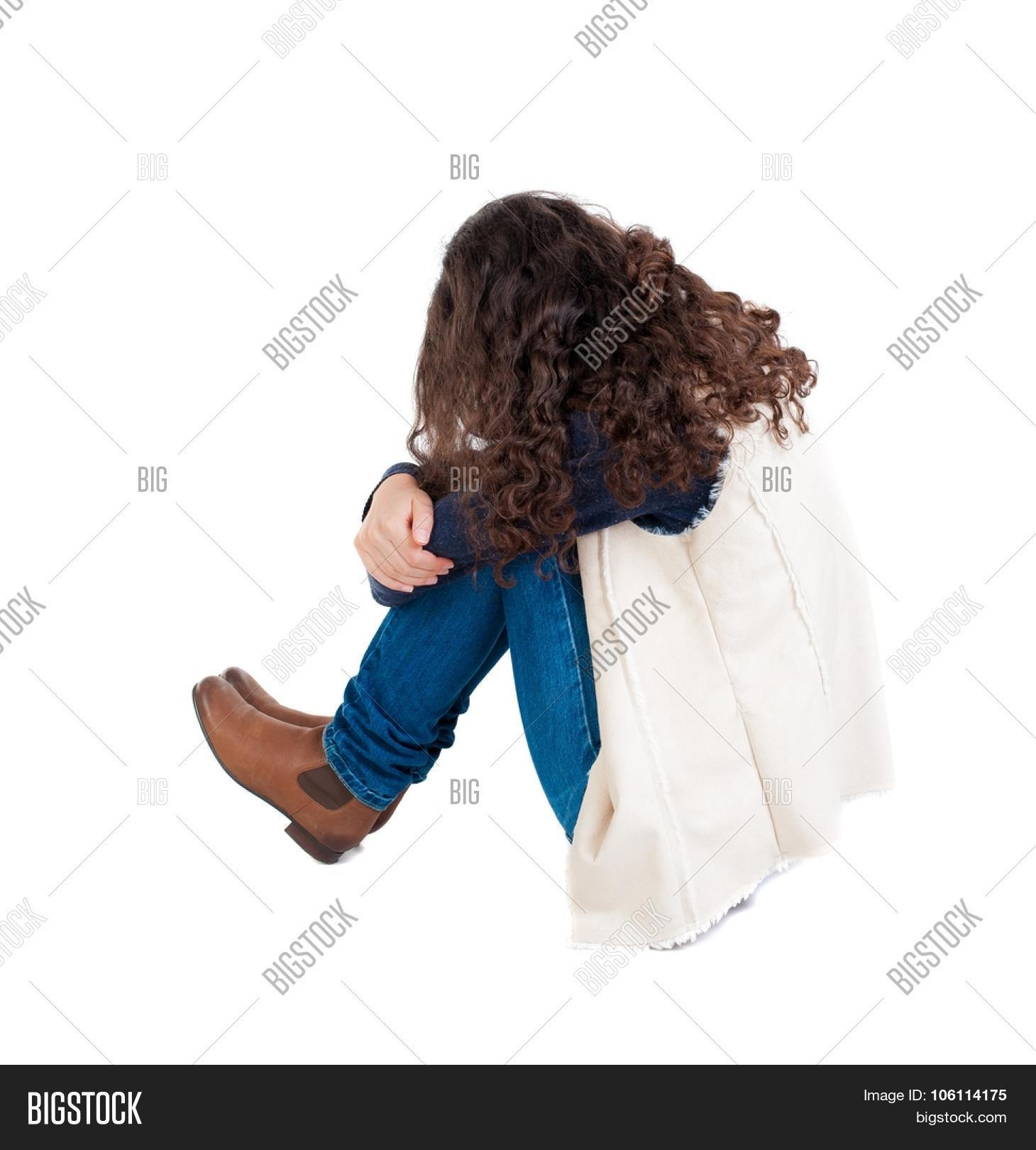 Back view curly girl sitting crying image photo bigstock for To floor someone