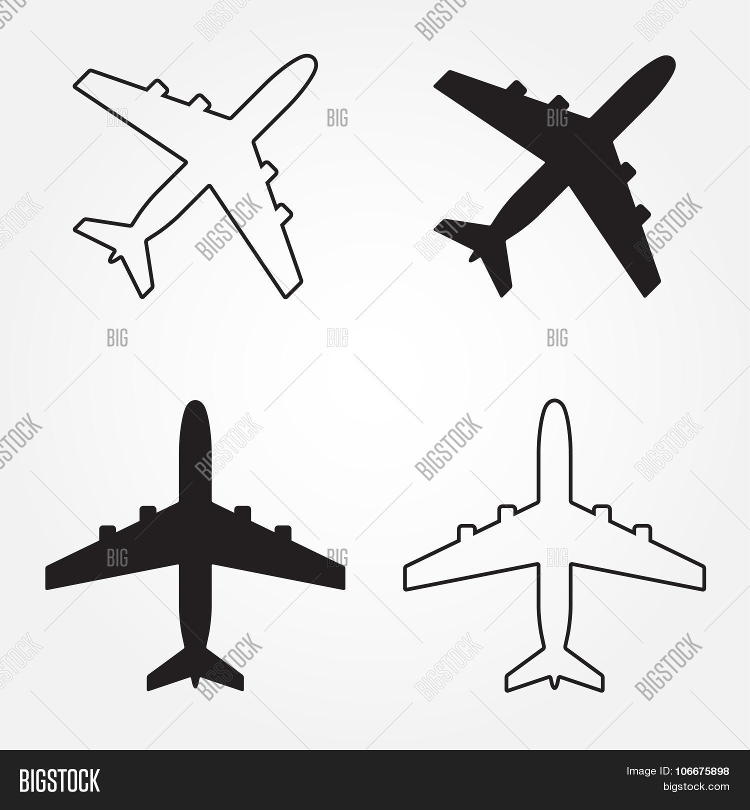 aircraft airplane icon set vector u0026 photo bigstock