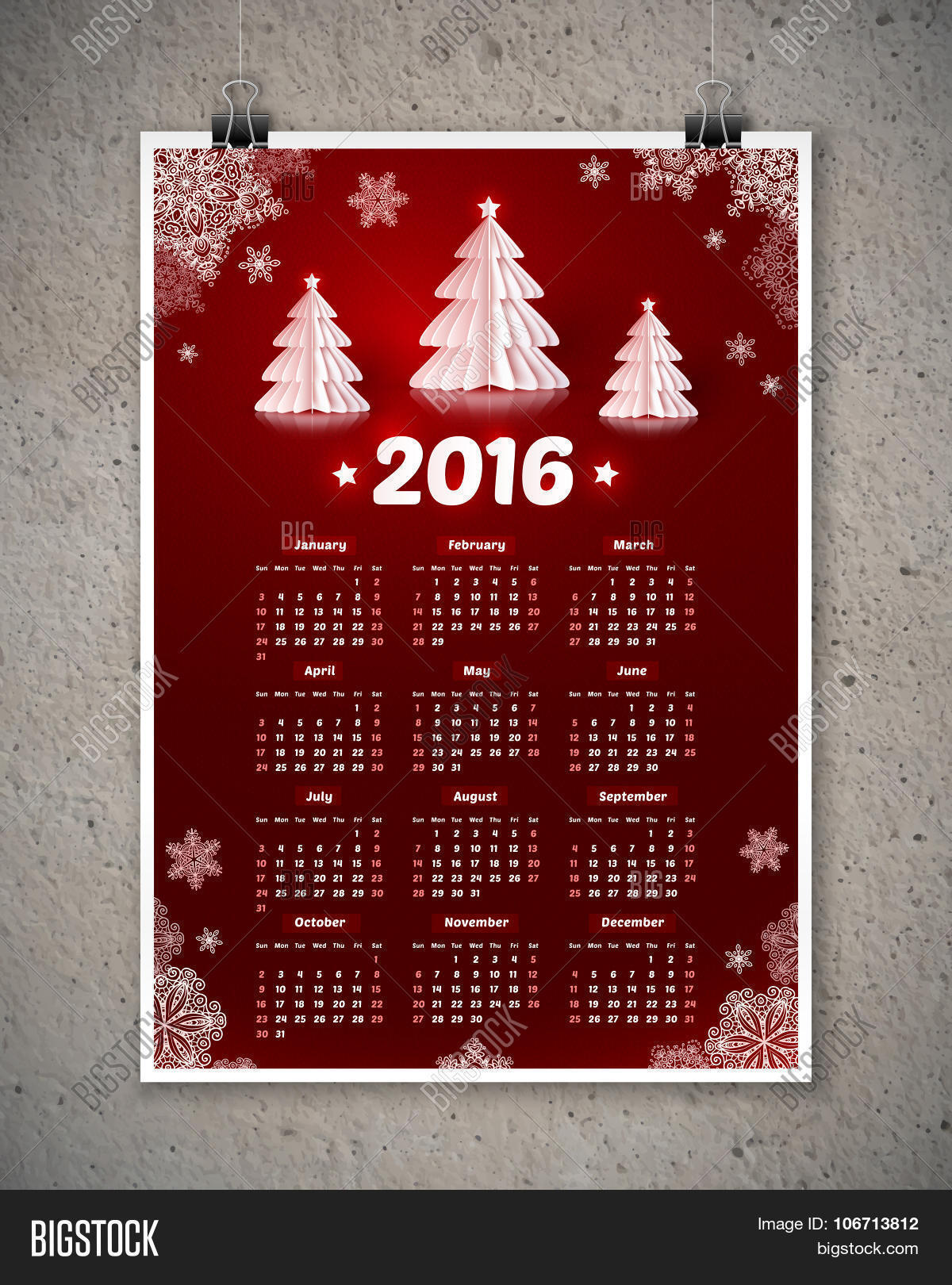 dark red new year calendar white paper christmas trees dark red 2016 new year calendar white paper christmas trees and snowflakes poster template