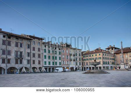 Piazza San Giacomo In Udine, Italy, Sunrise Time.