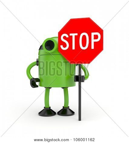Robot with STOP sign