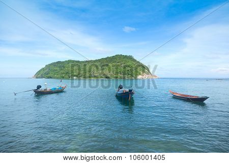 Boats On The Background Of Beautiful Seascape, Thailand, Phangan Island