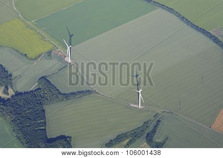 Wind generator. View from the airplane.