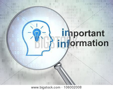 Information concept: Head With Lightbulb and Important Information with optical glass