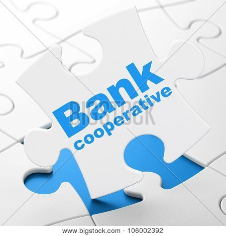 Money concept: Bank Cooperative on puzzle background