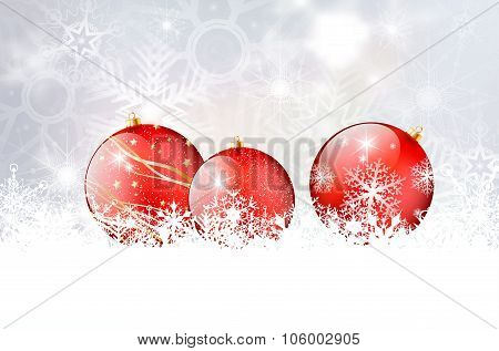 Shiny Red Christmas Balls On Snowflakes Background