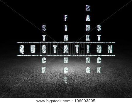 Money concept: Quotation in Crossword Puzzle