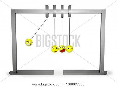 Pendulum with cheerful balls on white background