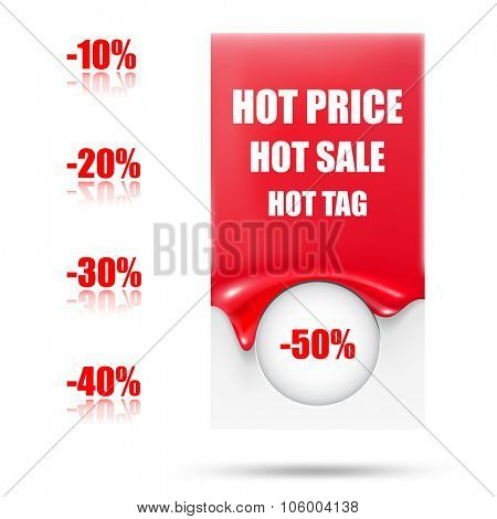 Abstract sale tag. Hot blank tag