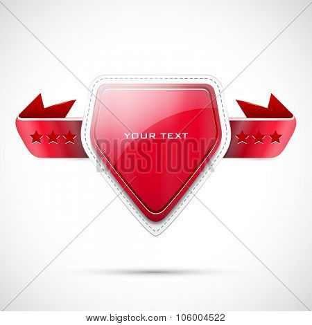 Vector label with red ribbon