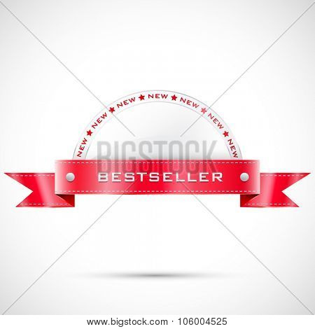 Vector label with shine ribbon