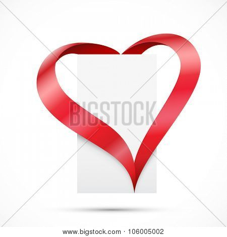 Paper with ribbons. Ribbons hearth. Vector illustration