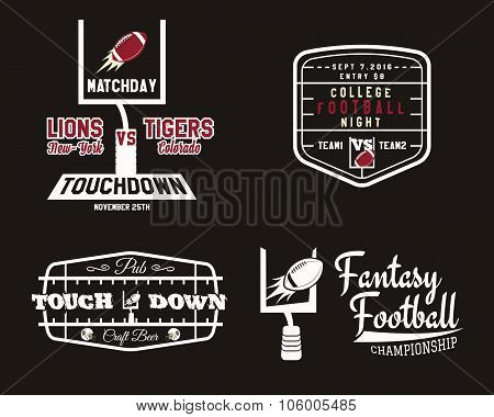 American football field and goal team badge, sport pub logo, label, insignia set in retro color styl