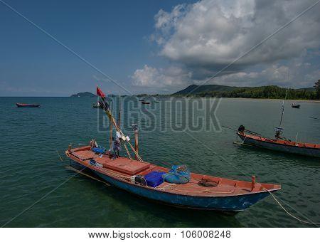 Colorfull Sea Fishing Boats In Ocean Asia