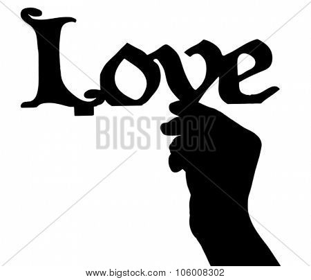 Silhouettes of hand with decorative item, isolated on white
