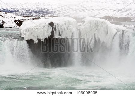 Frozen Icelandic waterfall - Godafoss