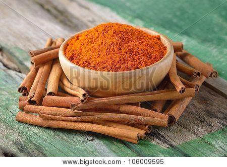 Cinnamon Sticks  And  Turmeric On Wooden