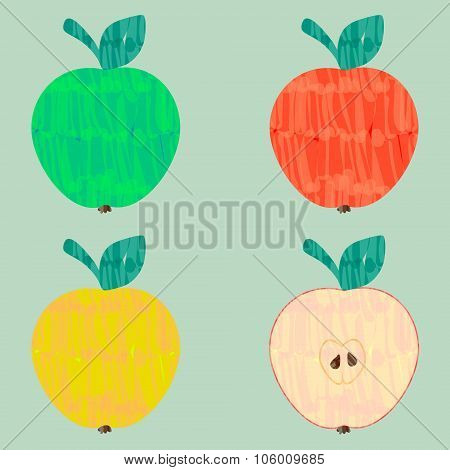 Colorful Vector Felt Tip Marker Pen Apple Set